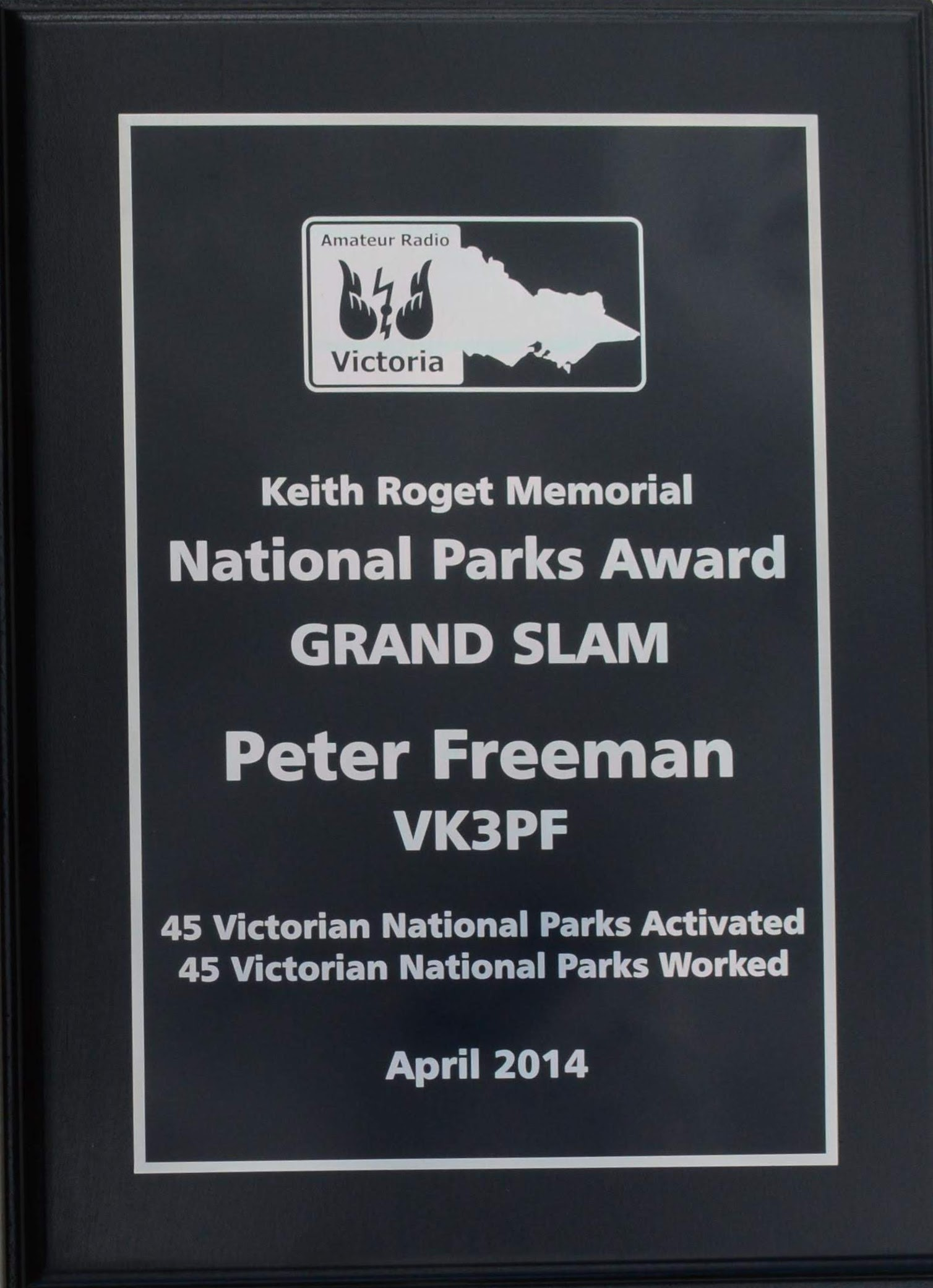 KRMNPA Grand Slam plaque